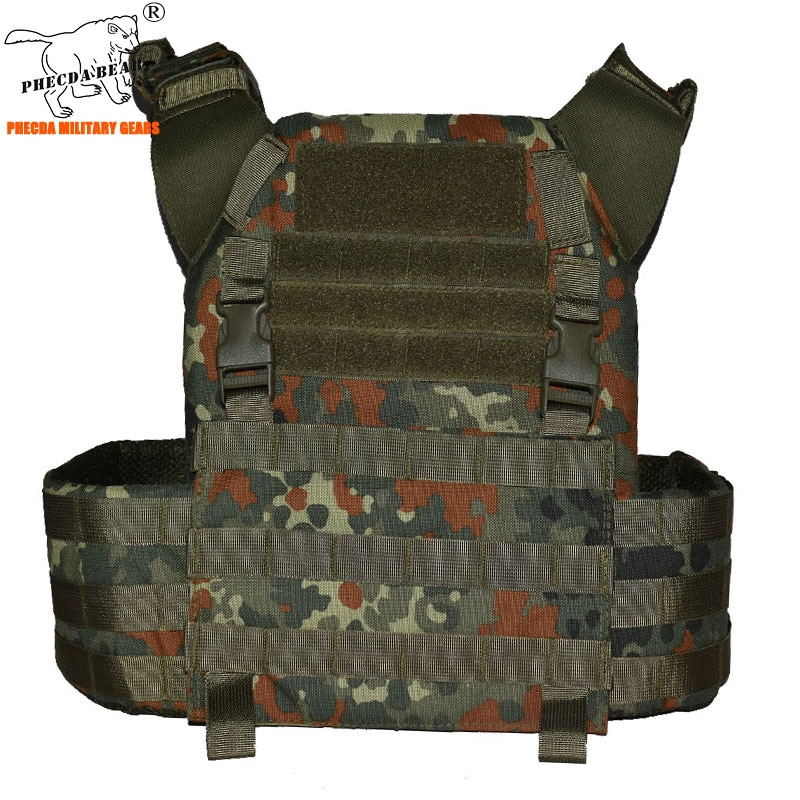 1000D flecktarn military combat chest rig with triple magazine pouch tactical combat vest bulletproof plate carrier army vest