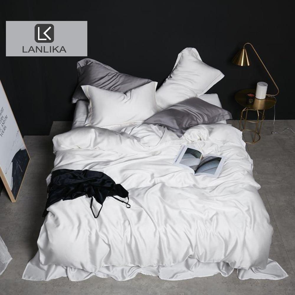 Lanlika-طقم أغطية سرير حريري 100% ، أبيض فاخر ، غطاء لحاف ، ملاءة مناسبة ، غطاء وسادة ، شحن مجاني
