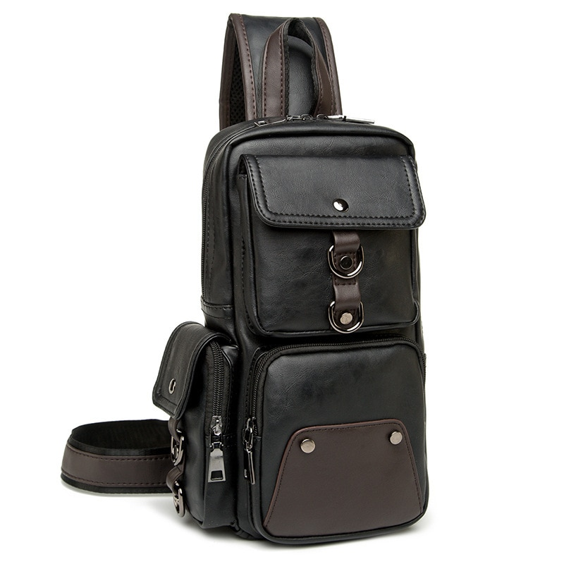 New Fashion Men's Chest Bags Luxury Leather Shoulder Bags for Mens Cross Body Side Male Breast Bags Multi-pocket Shoulder Bags