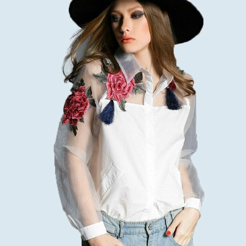 2019 Nova primavera e verano fiesta blusa bordado flores de organza longo-camisa de manga larga branca mulheres Negras e brancas