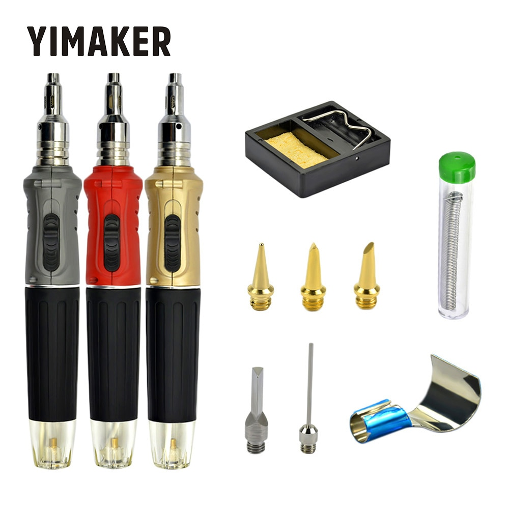 YIMAKER 10 en 1 de Gas butano soldadura Kit de soplete de soldadura sin cable Kit de herramienta de pluma portátil en forma de Gas Juego de Herramientas de pistola para soldar
