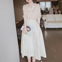 Two Piece Set Women Skirt Autumn Korean Fashion Office Lady Light Luxury Female High-end Chic Knit T