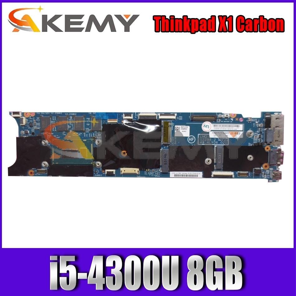Akemy نسخة جديدة محدثة لينوفو ثينك باد X1 الكربون اللوحة الأم للكمبيوتر المحمول 12298-48.4lyالجهة الرئيسية i5-4300U 8GB 100% اختبار