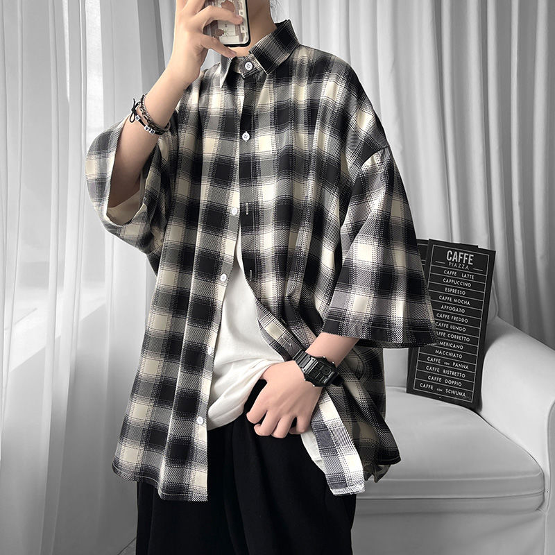 Summer Short-sleeved Shirt Men's Fashion Retro Casual Shirt Men Streetwear Korean Loose Plaid Shirts Mens Dress Shirt M-2XL