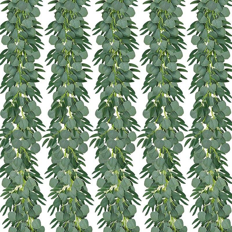 نباتات الأوكالبتوس الاصطناعية مع إكليل الصفصاف ، مجموعة من 5 ، 6.5 قدم ، أوراق خضراء مزيفة بالدولار الفضي
