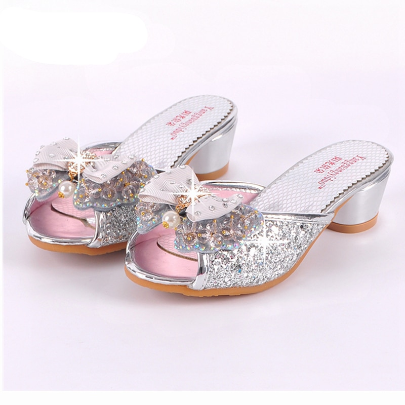 Sandálias de verão para meninas, chinelos de lantejoulas princesse, sapatos de salto alto para festa, chinelos de couro para crianças b45