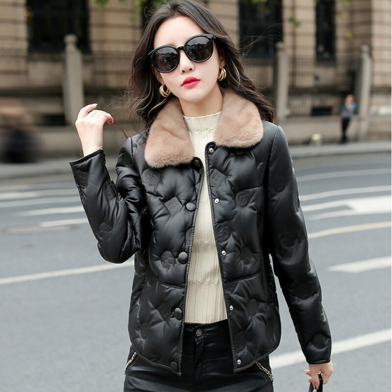 Autumn and Winter OIMG New Artificial Leather Women's Short Mink Fur Collar Fashion Casual Embroidered Sheepskin Coat enlarge