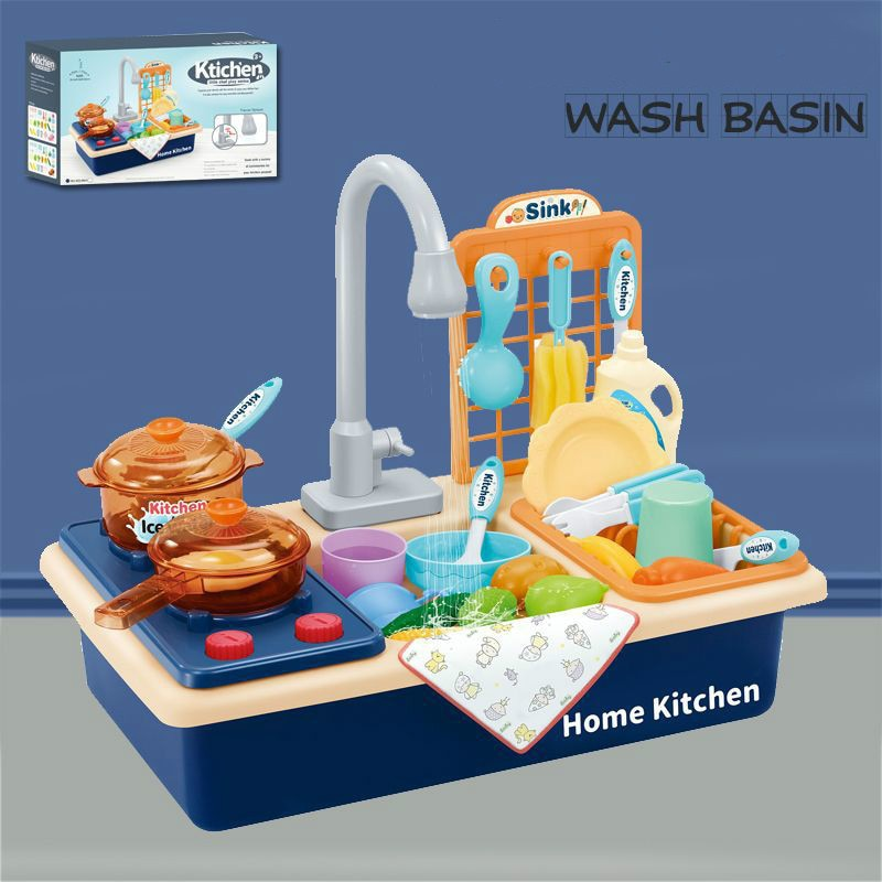 Детские пластиковые симуляционные электрические мойки для посудомоечной машины, ролевые игры, кухонные игрушки с электрическим водным умы...