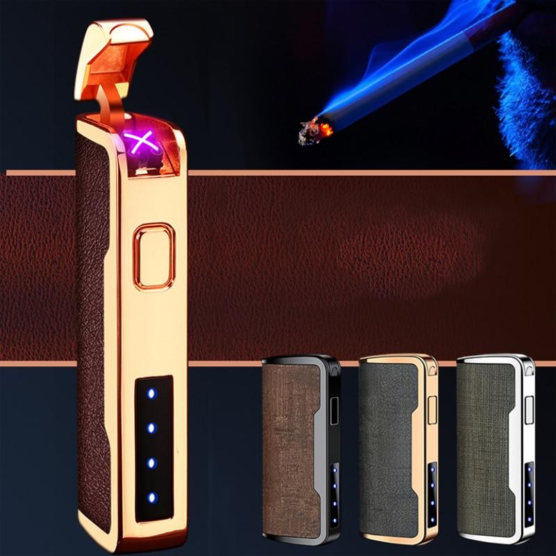 Encendedor eléctrico de cuero, Encendedor de cigarrillos de doble arco, a prueba...