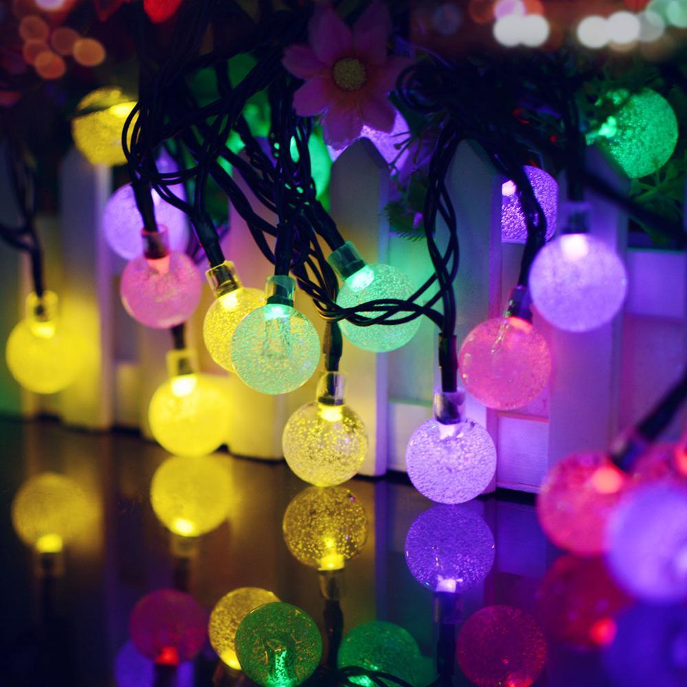 Decoración de interiores para exteriores decoración de barra de jardín del hogar Bola de burbuja Solar cadena de luces 6m 30 piezas pequeñas cuentas 2 modo decoración de fiesta de año nuevo
