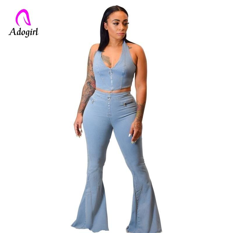 Vaquero Azul 2 piezas conjunto cremallera frontal Sexy Halter chaleco Crop Top y moda de longitud completa Flare pantalones vaqueros Mujer denim conjuntos