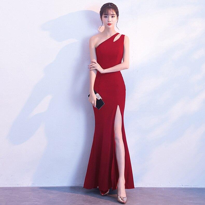 فستان نسائي طويل من Beauty-Emily أنيق بكتف واحد بدون أكمام فساتين سهرة فساتين حورية البحر للحفلات من الساتان 2021 Vestidos أنيقة