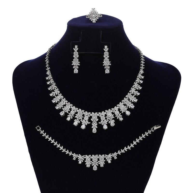 HADIYANA-طقم مجوهرات نسائي ، عقد ، أقراط ، خاتم وسوار ، مجوهرات الزفاف ، CN1833