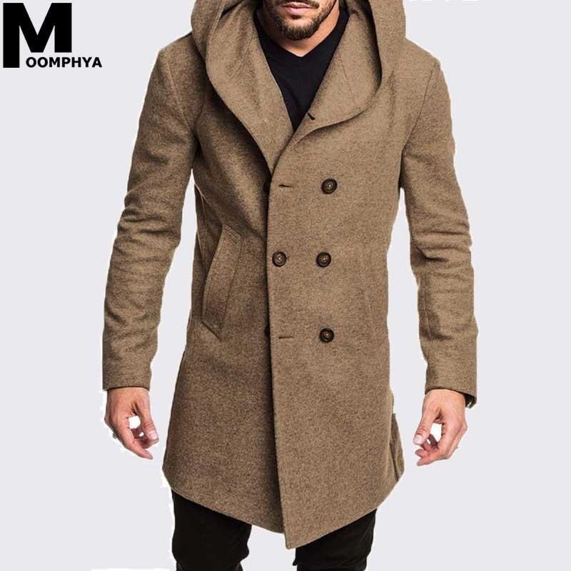 Moomphya-معطف شتوي رجالي, جاكيت رجالية صوف بقلنسوة جاكيت شتوي سترة واقية من الرياح ملابس شارع هيب هوب جاكيت خارجي طويل
