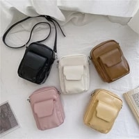 fashion trend shoulder bag pu leather mobile phone purse crossbody bags creative small square bag casual texture messenger bag