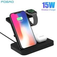 3 en 1 Qi chargeur sans fil Station daccueil pour iPhone 11 XS X 8 iWatch Airpods Pro 15W support de charge rapide pour Samsung S20 S10 bourgeons
