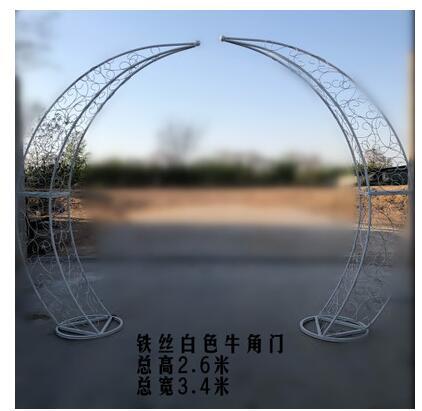 Arco de Ferro Pérgola de Escalada ao ar Novo Casamento Adereços Quadro Flor Livre Estágio Lua Feliz Chifre Marfim Porta