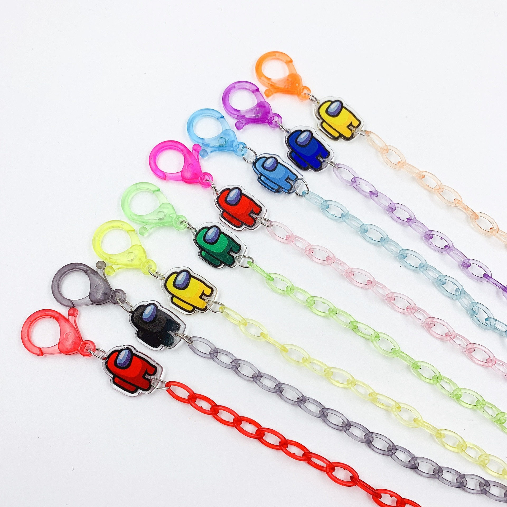 10 Pieces One Pack Cartoon Candy Color Game Transparent Color Among-us Mask Chain Glasses Chain Anti-lost Lanyard 60cm
