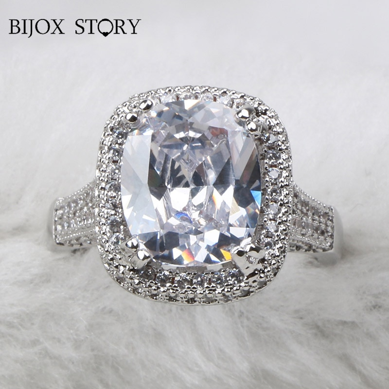 BIJOX STORY elegante anillo de Plata de Ley 925 con forma ovalada circonita AAA anillo de joyería con piedra preciosa para boda fiesta tamaño 6-10
