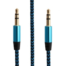 1m Nylon Aux Cable 3.5mm Plug Male To Male Jack Auto Car Audio Cable Kabel Line Cord For IPhone 7 fo