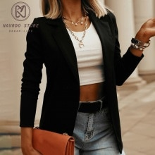 Black Women Blazer 2021 Formal Blazers Lady Office Work Suit Pockets Jackets Coat Slim Black Women B