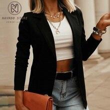 Black Women Blazer 2021 Formal Blazers Lady Office Work Suit Pockets Jackets Coat Slim Black Women B
