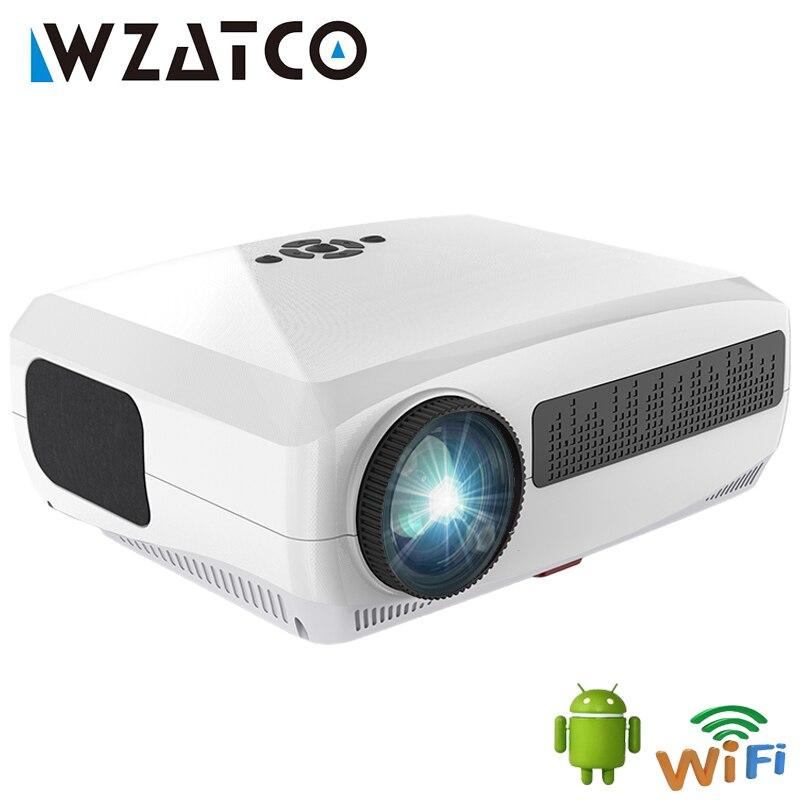 WZATCO C3 4D كيستون جهاز عرض (بروجكتور) ليد 4K الروبوت 10.0 WIFI 1920*1080P Proyector المسرح المنزلي 3D وسائل الاعلام مشغل فيديو لعبة متعاطي المخدرات