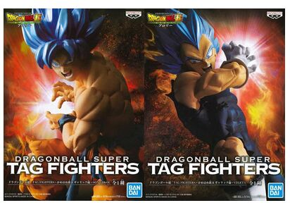 BANPRESTO-figuras de Dragon Ball Super, figuras originales de la película Broly TAG Fighters, Goku, Vegeta, SSJ, figura de cabello azul, Brinquedos