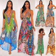 Yg brand women's 2021 summer new sexy open back large V-neck sling retro printed Bohemian long dress