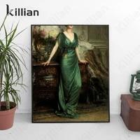 antique oil painting woman portrait art print poster retro canvas painting living room home decoration bedroom decoration