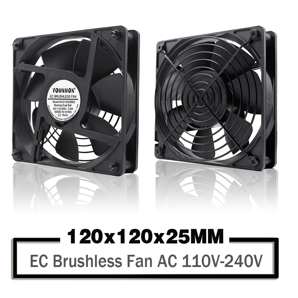 YOUNUON Dual Ball 120mm 12025 EC Brushless Fan AC 110V 115V 120V 220V 240V Axial Fan 120x 120x 25mm Comes with Srews/Grill
