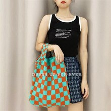 Female Wrist Bags Clash Color Checkerboard Plaid Woolen Knitted Shoulder Vintage Chic Big Capacity T