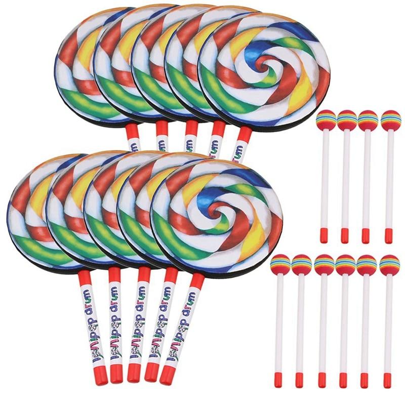 tambor em forma de pirulito de 79 polegadas tambor com malho colorido arco iris instrumentos