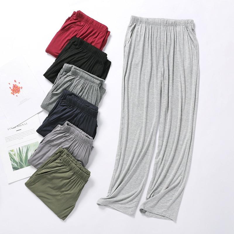 Men's Modal Sleeping Pants Solid Sleep Trousers Mens Pajamas Bottoms Soft Sleepwear Pyjama Homewear 2020 Spring autumn