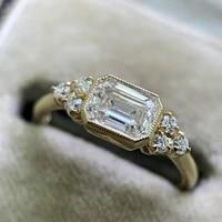 cross border hot sale i creative style inlaid square diamond ring simple female accessories