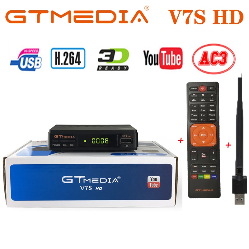 Brazil GTMEDIA V7S HD DVB-S2 TV Satellite Receiver With USB WIFI FTA DVB-S2 Youtube FULL HD 1080P V7 HD Cline Satellite Receiver