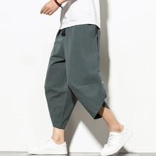 Dropshipping קיץ כותנה הרמון מכנסיים גברים מקרית היפ הופ מכנסיים צלב תחתונים עגל-אורך מכנסיים רצים Streetwear
