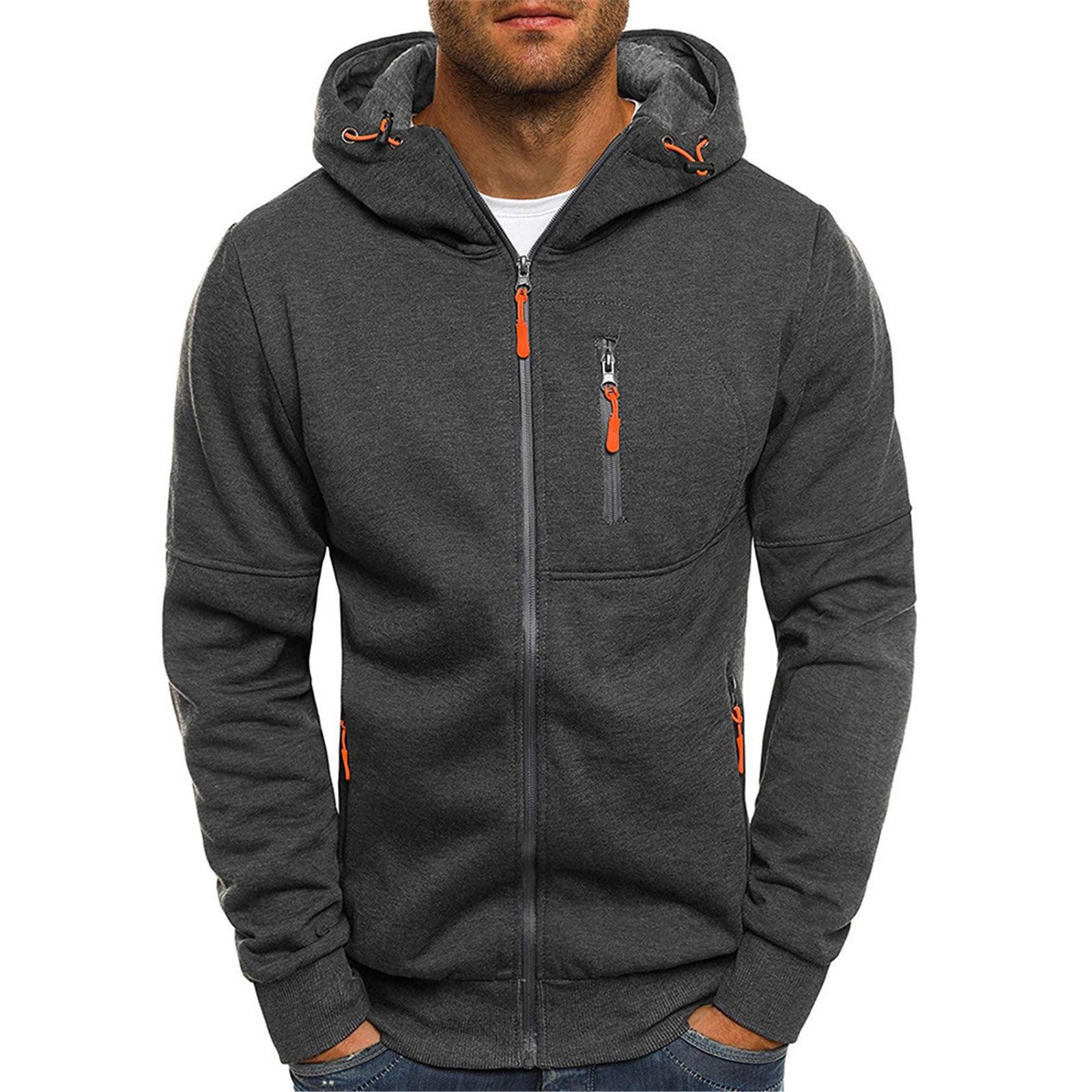 Куртка мужская повседневная с длинным рукавом, кофта с капюшоном, на молнии, верхняя одежда, пальто, осень