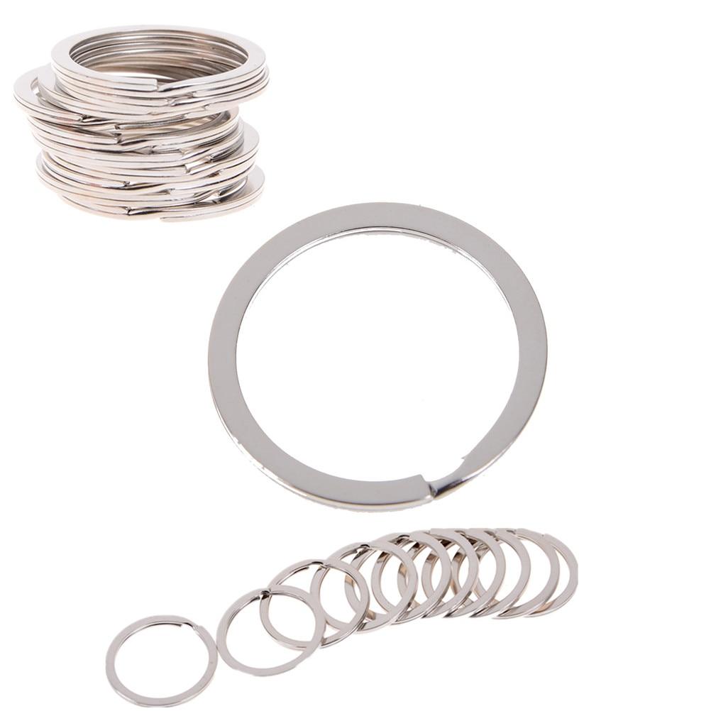 10 pçs/lote adorável tom de prata split anéis chave 1.5x25mm achados atacado