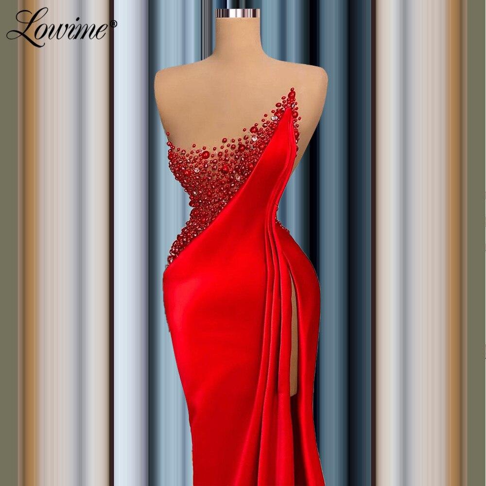 فستان سهرة من Lowime Couture مزين بكريستال أحمر حورية البحر ذو فتحة طويلة فساتين لحضور الحفلات الموسيقية مقاس كبير فستان عربي مخصص للحفلات