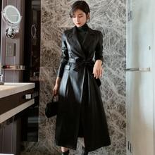 2021 Winter Fashion Long Sleeve Pu Women's Jacket Coats