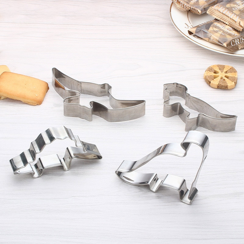 4 Uds herramientas de acero inoxidable para galletas cortador de galletas dinosaurio Animal decoración molde herramientas para pastelería, hornear dulce de caramelo, torta, galleta
