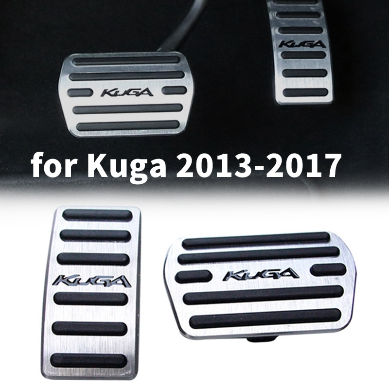 Cubiertas de Pedal para Ford Escape Kuga 2013-2017 pastillas de Pedal de freno de Gas para coche sin taladro antideslizante con gomas de aluminio