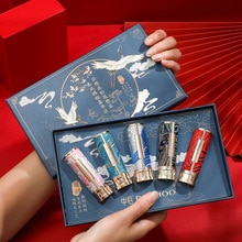 5pcs Embroidery Joint Chinese Style Carved Lipstick Set Matte Moisturizing Non-fading Gift Box New M