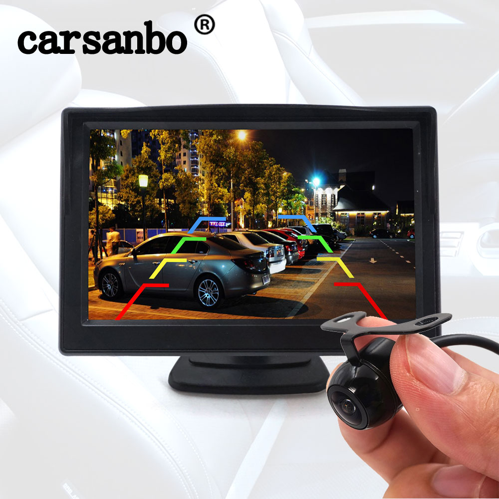 5 Inch Wireless Monitor with Front or Rear View Camera Cigar Lighter Power Supply Digital Signal Sup
