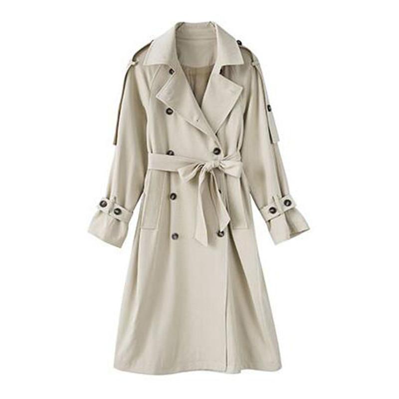 الموضة مزدوجة الصدر سترة واقية الإناث 2020 ربيع الخريف جديد الكورية شيك الخصر الأدوات طويلة معطف واقٍ من المطر للنساء X502