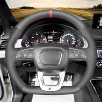 diy anti slip wear resistant steering wheel cover for audi q3 18 19 q5 sq5 17 19 q7 sq7 15 19 q8 sq8 18 car interior decoration