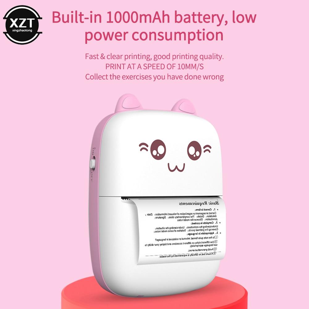 Портативный термальный принтер с поддержкой беспроводной связи BT, 203 точек/дюйм, фотоэтикетка, запись, неправильный вопрос, печать, Мини Bluetooth термальная печать с USB