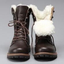 Laine naturelle hommes chaussures dhiver plus chaudes en cuir véritable à la main hommes hiver bottes de neige # YM1568