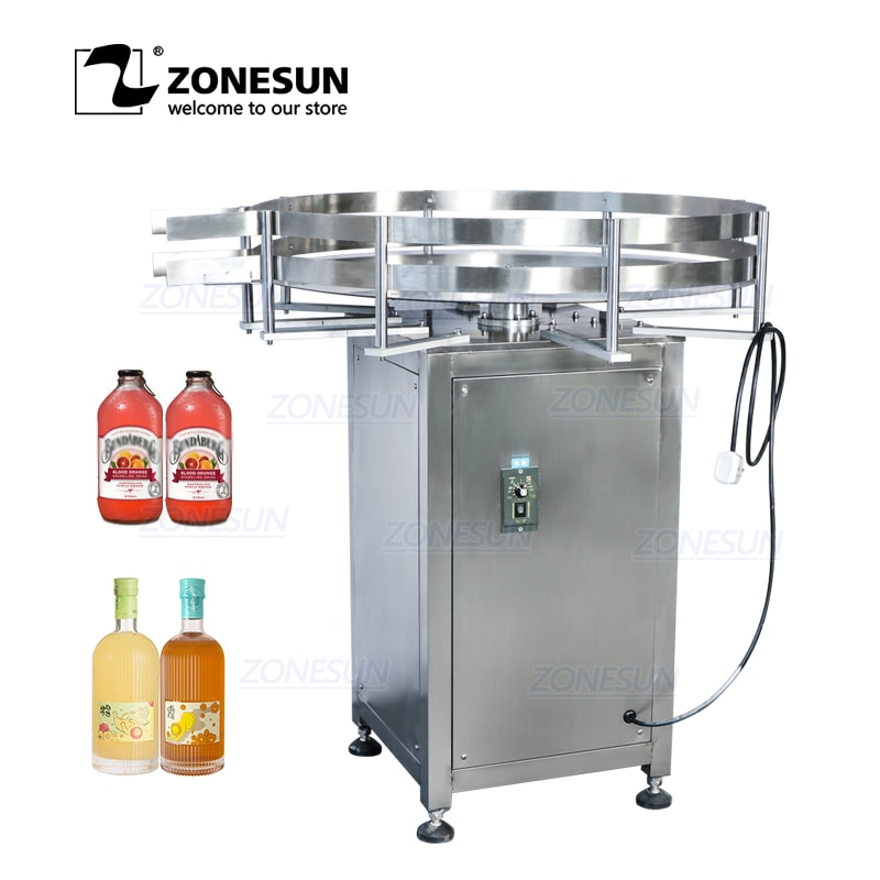 ZONESUN Automatic Rotary Round Bottle Collecting Food Packaging Sorting Turntable Machine for Filling Capping Labeling Machine